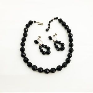 West Germany Faceted Black Glass Beaded Set